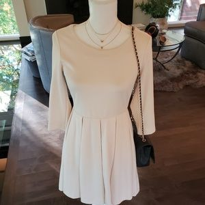 Cream Sleeved Pleated Dress